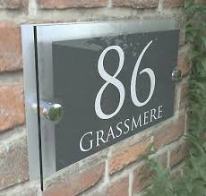 house number plaques glass effect