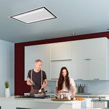 90cm ceiling cooker hood with white glass