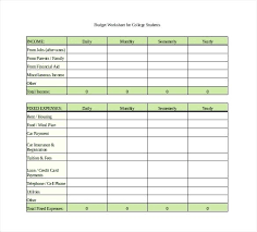 how to budget as a college student excel college budget template budgeting exercises for college