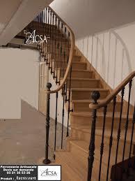 Escalier Bois Avec Rampe Barreaux En Fer Forg Et Main Courante Rampe Escalier Bois