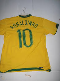Nike Mens Ronaldinho #10 - Size Large - Brazil Brasil CBF Futbol Soccer  Jersey