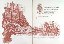 james russell sir gawain the green knight in pictures gawain approaches sir bertilak s castle cyril satorsky editions club 1971