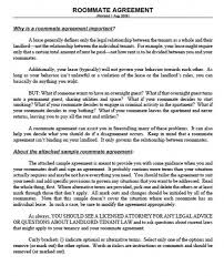 Sample Roommate Contract Printable Sample Roommate Agreement Template Form Real Estate