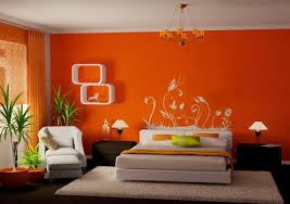 charming cool wall paintings ideas and orange curtains with white fur rug