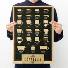 Room decoration black coffee retro kraft paper poster bar cafe ...