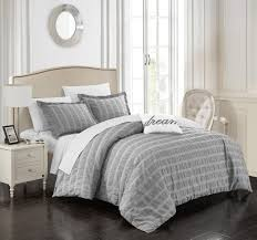 chic home tornio 4 piece duvet cover set 100 cotton ruched ruffled striped design zipper closure bedding with terry embroidered decorative pillow and shams