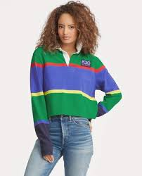 ralph lauren cropped cotton rugby shirt
