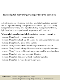 top8digitalmarketingmanagerresumesamples 150425015513 conversion gate02 thumbnail 4 jpg cb 1429944957