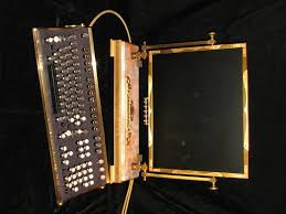 steampunk monitor and keyboard on black velvet