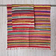 attractive rag rugs fair trade handmade recycled rug large 6 x 4ft co uk