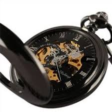 pocket watch albert chain lobster claw style clip worn classic black smooth skeleton windup mechanical vintage chain mens pocket watch