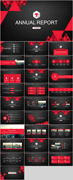 29 Red Black Annual Report Powerpoint Templates