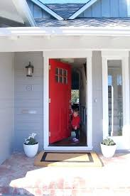 red door grey house. Gray House Red Door Traditional Exterior Front Brick Grey G