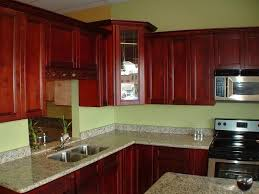 kitchen cabinet color schemes gray pallet wall paint red granite on tops engineered lacquer solid hardwood kitchen with cherry cabinets