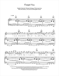 forget you piano sheet music forget you piano sheet music by cee lo green piano voice guitar