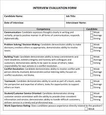interview assessment form template candidate evaluation form candidate evaluation form example