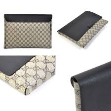 gucci clutch. gucci gucci clutch bag documents gg pattern beige system x black pvc lady\u0027s men -