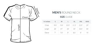 Round Neck T Shirt Size Chart Sawan Round Neck T Shirt