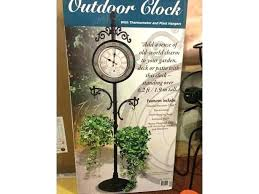 wrought iron plant hangers outdoor standing plant hanger outdoor clock with thermometer and 2 plant hangers
