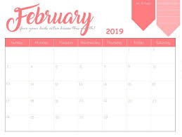 2019 Calendar Printable Template Printable February 2019 Calendar Calendar 2018 Calendar 2019