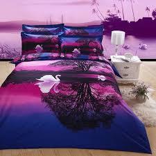 Purple and Blue Swan Lake Print Jungle Safari Themed Nature Scene Cute  Style 3D Bedding Sets