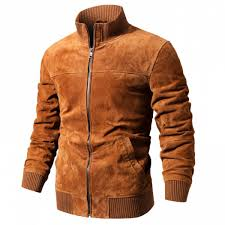 flavor men s real leather jacket men pigskin slim fit genuine leather coat with rib cuff standing collar malaysia