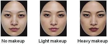 exles of images no makeup light makeup and heavy makeup