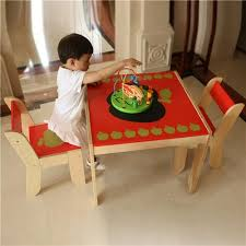 labebe children furniture sets apple pattern kids birch wood table and 2 chairs set furniture leg floor prote furniture coffee table furniture gloss