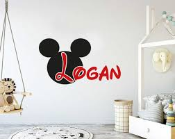 mickey mouse wall decal name boy