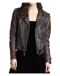 distressed leather motorcycle jacket