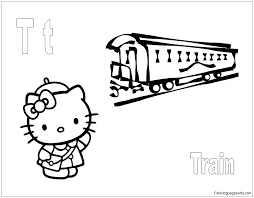 Thomas the train coloring pages. Hello Kitty With Letter T Is For Train Coloring Page Free Coloring Pages Online