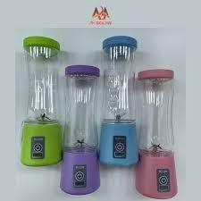 Máy xay sinh tố mini cầm tay đa năng, tích điện usb, xanh lá,xanh  dương,hồng,tím,4 lưới dao thép không gỉ - abm solar