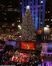the 77th annual rockefeller center tree is pictured after the lighting ceremony in new york