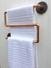 towel bar with towel. Copper Pipe Towel Rack Industrial Bar Modern By MacAndLexie With A