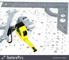 diy hardware the metal ruler and wiring diagram stock picture the metal ruler and wiring diagram