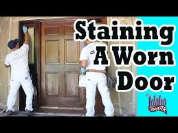 how to refinish front doorSTAINING A DOOR How to refinish a door Door glazing tips  YouTube