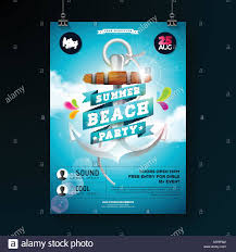 Part Flyer Vector Summer Beach Party Flyer Design With Anchor And Ribbon On