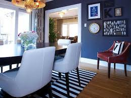 ... Dining Room Inspiration ~ Noble Blue Dining Room Interior Paint Color  Photos: Lovely White Upholstery ...