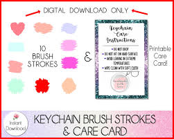 This is digital artwork ready for immediate download and ready to be used on such software as cricut design space, silhouette studio and other cutting software. Keychain Brush Strokes Svg Keychain Care Card Bundle So Fontsy