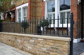 Small Picture Brick garden wall Imperial stock York stone metal rails gate path