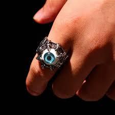 2019 new men gift vine dragon claw evil eye skull ring imitating snless steel biker ring eyeball party props men jewelry from
