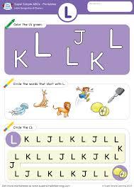 Diy (reusable & easy to make): Letter Recognition Phonics Worksheet L Uppercase Super Simple
