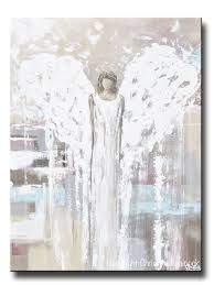 giclee print abstract angel painting modern angel art cream light blue grey pink white home wall art on wall picture artwork with canvas print abstract angel painting angel cream white wall art