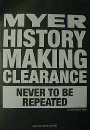 myer flyer for the history making clearance distributed to customers