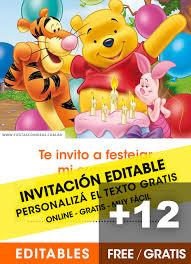 Tajetas De Cumpleanos 12 Invitaciones De Winnie Pooh Gratis Free Para Editar