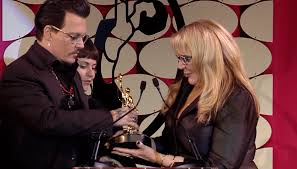 johnny depp presents lifetime achievement awards at makeup artists hair stylists guild awards