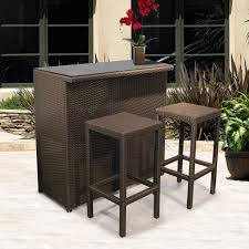 sy wicker patio furniture safieh carrissa outdoor bar with sets and 3pc set backless stool resin