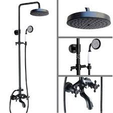 oil rubbed bronze handheld shower black rainfall system hand head bathtub mixer tap set wall hose