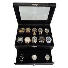 20 piece black carbon fiber pattern men s watch box display case 20 piece black carbon fiber pattern men s watch box display case collection jewelry box storage glass