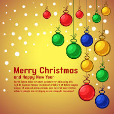 Merry Christmas Background Template With Decorations Vector